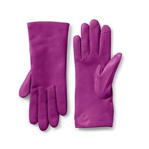 Land's End EZ Touch Screen Purple Leather Gloves